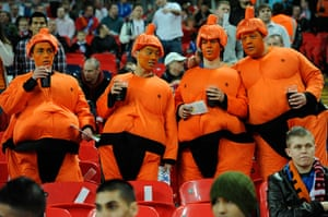 England v Holland: Dutch fans in Sumo costumes