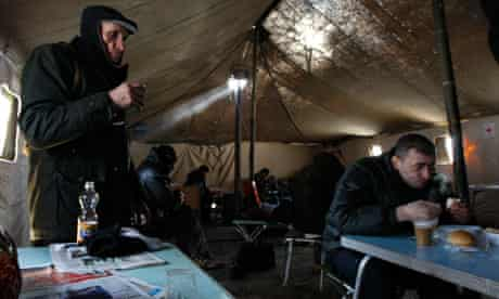 Cold weather shelter in Ukraine