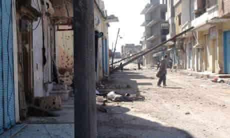house in homs damaged during a military crackdown