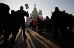 Russia Protest: Demonstrators  march during a massive protest against Vladimir Putin