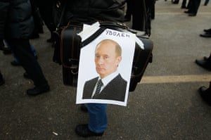 Russia Protest: A portrait of Russian Prime Minister Vladimir Putin with the word 'sacked'