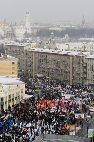 Russia Protest: Demonstrators gather for a protest against Vladimir Putin's rule in Moscow
