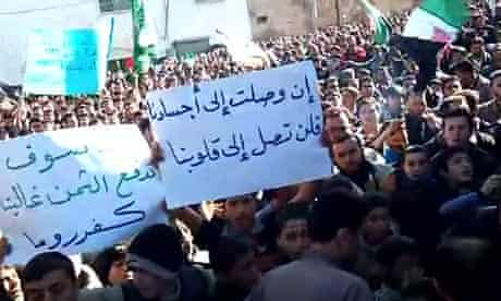 An image grab from YouTube purportedly shows Syrian protesters in the northern town of Kafruma