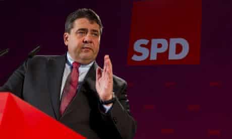 SPD party leader Sigmar Gabriel speaks during news conference