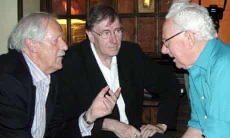 John Christopher, right, with Brian Aldiss, left, and Christopher Piest, centre