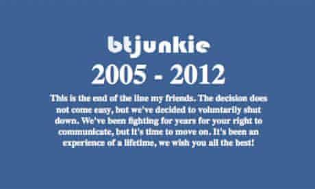 BTjunkie farewell message