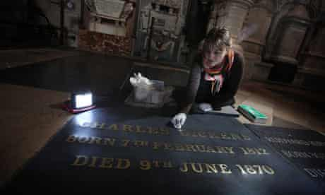 The gravestone of Charles Dickens at Westminster Abbey is cleaned