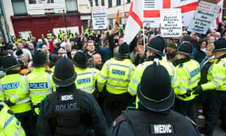 EDL Supporters March Across Leicester
