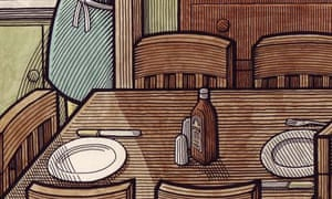 Clifford Harper illustration of a wooden table laid for dinner