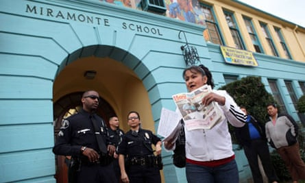 Police guard Miramonte elementary school in Los Angeles