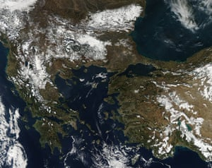 Satellite eye on earth: A covering of snow laid across much of the Balkans and Turkey