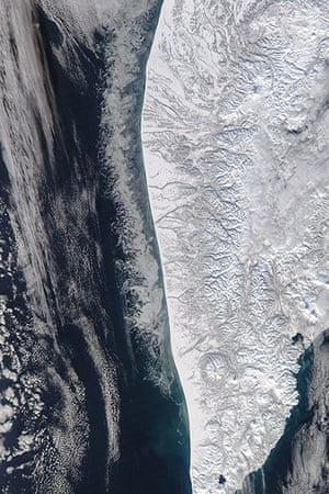 Satellite eye on earth: Sea of Okhotsk off the coast of western Kamchatka, Russia