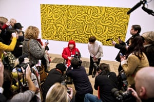 Yayoi Kusama: The artist is photographed in front of Yellow Trees, 1994