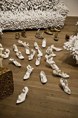 Yayoi Kusama: Untitled Accumulation, 1963, in foreground, and Accumulation No 2, 1962