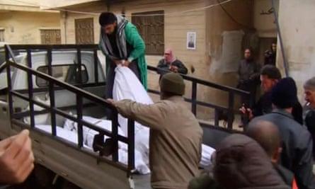 Body bags in Homs 7/2/12