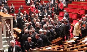 MPs walk out of parliament in Paris