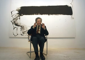 Antoni Tapies: Antoni Tapies in front of his painting Franja Negra in Madrid 2006