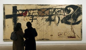Antoni Tapies: Visitors look at Libre-mur at the Antoni Tapies Foundation