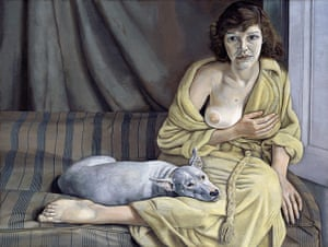 Lucian Freud at NPG: Lucian Freud at National Portrait Gallery - Girl with a White Dog