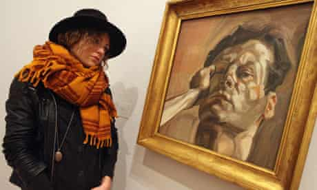 Lucian Freud at National Portrait Gallery - woman admiring Man's Head