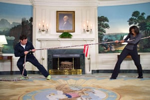 Michelle Obama fitness: Handout image of Michelle Obama with Jimmy Fallon in a tug of war