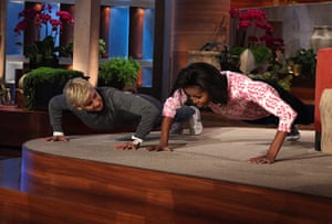 Michelle Obama fitness: Ellen DeGeneres challenges First Lady Michelle Obama to a push up contest