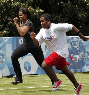 Michelle Obama fitness: First lady Michelle Obama runs a 40-yard sprint