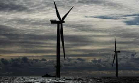 Walney offshore windfarm under construction