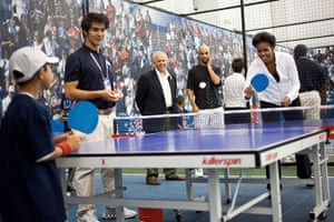 Michelle Obama fitness: First Lady Michelle Obama plays table tennis during a Let's Move! event