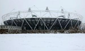 London 2012 Olympic stadium in the snow