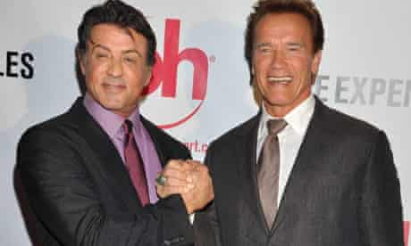 Sylvester Stallone and Anold Schwarzenegger at a film screening