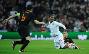 England v Holland: Daniel Sturridge fouled by Stijn Schaars