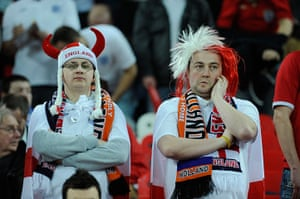 England v Holland: Disgruntled looking England fans