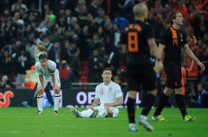England v Holland: A dejected Scott Parker and Gary Cahill