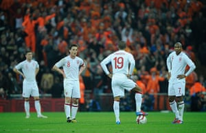 England v Holland: Deflated England players after Holland scored their third goal