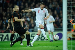 England v Holland: Gary Cahill scores the 1st England goal against Holland