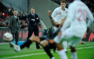 England v Holland: Stuart Pearce watches in the 2nd half