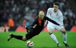 England v Holland: Robben dives under challenge of Jones
