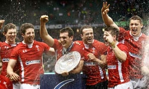 Wales celebrate beating England in the six nations