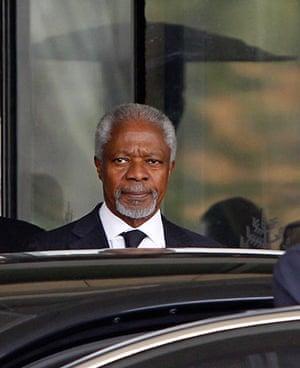 Syria Annan: Kofi Annan on his way to meet Syria's President Bashar al-Assad in Damascus
