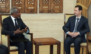 Syria Annan: Bashar Al-Assad meets with Kofi Annan in Damascus