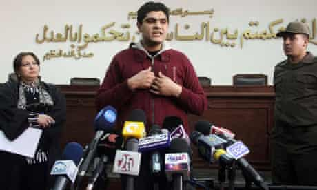 Dr Ahmed Adel addresses the media after being cleared of charges