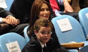 Louis Sarkozy and Carla Bruni-Sarkozy