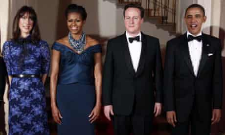 Samantha and David Cameron with Michelle and Barack Obama at the White House state dinner