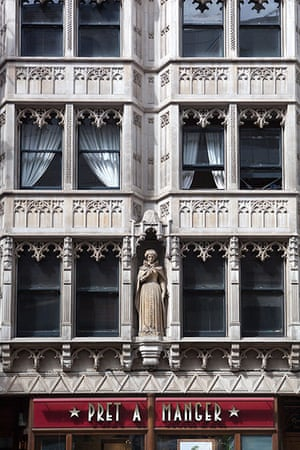 Unusual chain restaurants: Ornate Building Facade with Pret a Manger Cafe beneath Strand London UK
