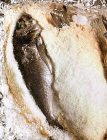 Whole bream baked in coarse salt