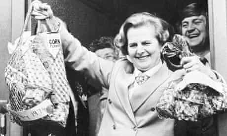 Margaret Thatcher MP with shopping bags 1979