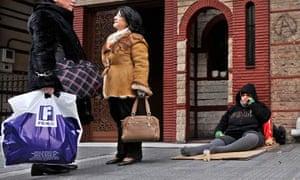 Homeless woman in Thessaloniki