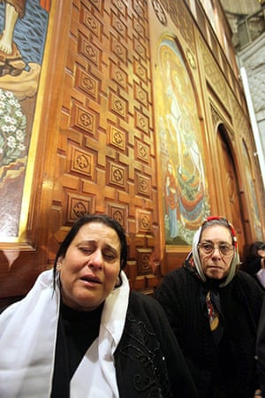 Pope Shenouda III: Egyptian Coptic Christians inside the Abassiya Cathedral