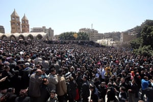 Pope Shenouda III: Thousands of tearful Christians attended a mass service in Cairo